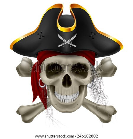 Raster version. Pirate skull in red bandana and cocked hat with crossed bones and hair tuft  - stock photo