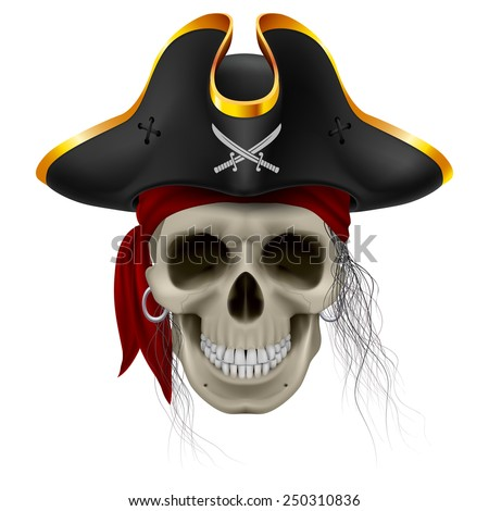 Raster version. Pirate skull in red bandana and cocked hat with hair tuft  - stock photo