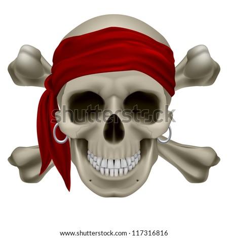 Raster version. Pirate Skull, Red bandanna and bones. Illustration on white - stock photo