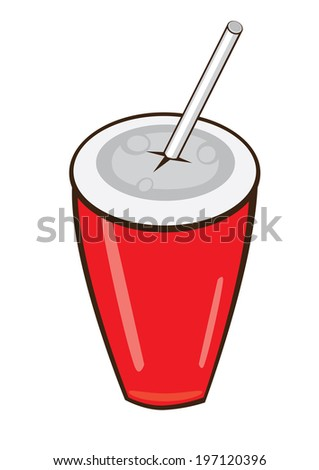 Raster version. Plastic fastfood cup.  illustration on white background - stock photo