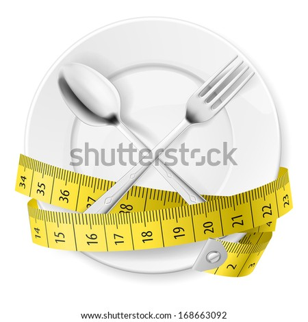Raster version. Plate with measuring tape and crossed fok and spoon. Diet concept. - stock photo