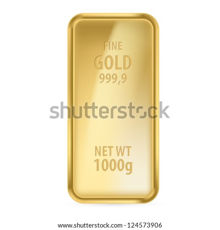 Raster version. Realictick gold bar on the white background - stock photo