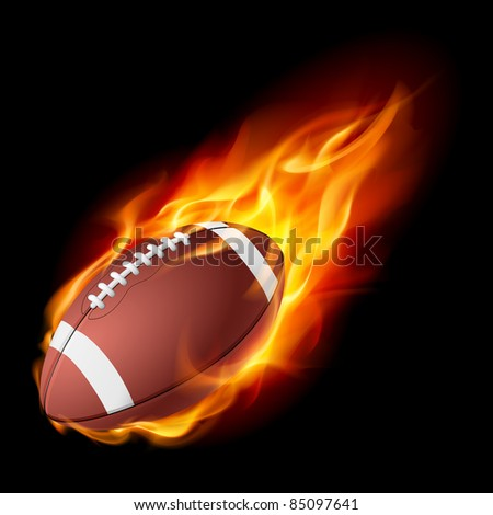 Raster version. Realistic American football in the fire. Illustration on white background. - stock photo