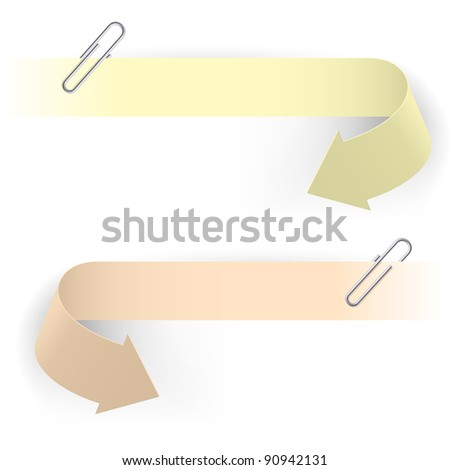 Raster version. Realistic Arrows and Clips. Illustration on white background. - stock photo