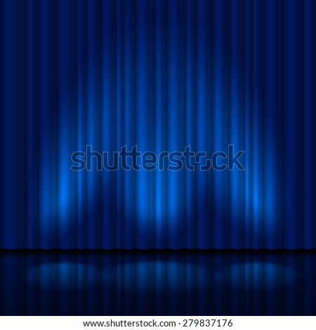 Raster version. Realistic blue curtain. Illustration for creative design