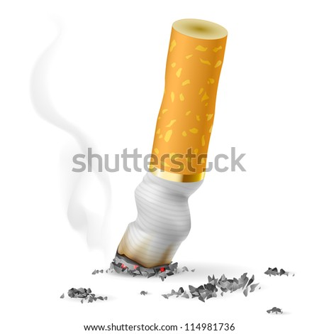 Raster version. Realistic cigarette butt.  Illustration on white background - stock photo