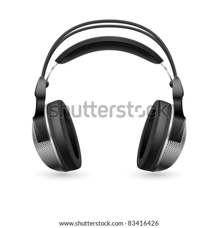 Raster version. Realistic computer headset. Illustration on white background