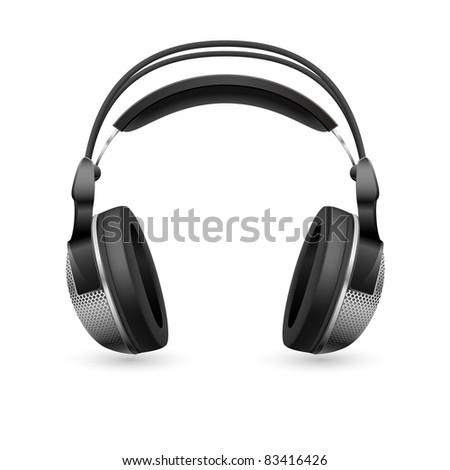 Raster version. Realistic computer headset. Illustration on white background - stock photo