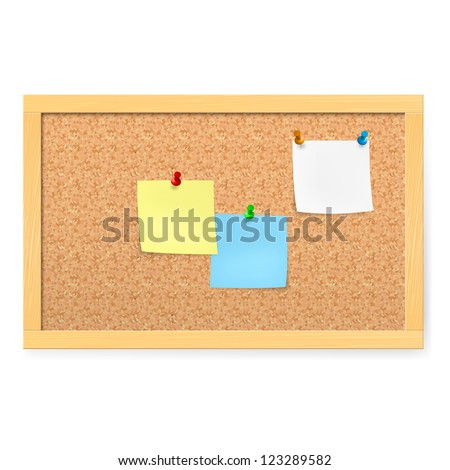 Raster version. Realistic corkboard with pushpins and blank paper on white.