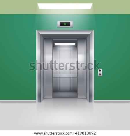 Raster version. Realistic Empty Elevator with Half Open Door in Green Lobby - stock photo