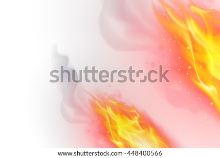 Raster version. Realistic Fire Flames Effect on White Background - stock photo
