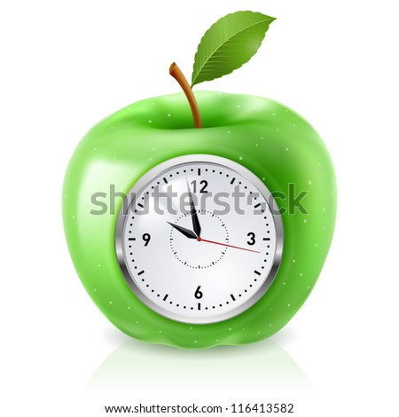 Raster version. Realistic green apple clock. Illustration on white - stock photo