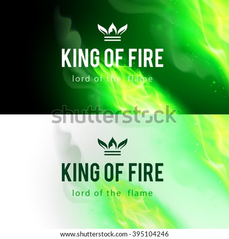 Raster version. Realistic Green Fire Flames Effect on Black and White Backgrounds