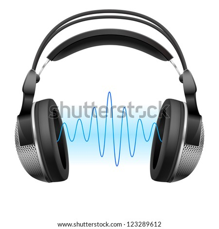Raster version. Realistic headphones and music wave.  Illustration on white background - stock photo