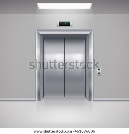 Raster version. Realistic Metal Modern Elevator with Closed Door