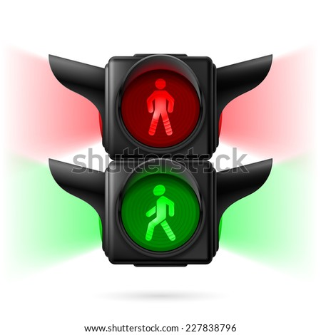 Raster version. Realistic pedestrian traffic lights with red and green lamps on and sidelight. Illustration on white background