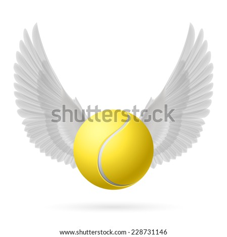 Raster version. Realistic tennis ball with white wings emblem  - stock photo