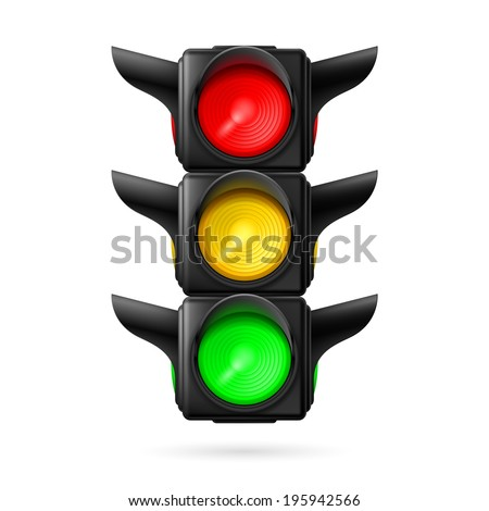 Raster version. Realistic traffic lights with all three colors on. Illustration on white background - stock photo