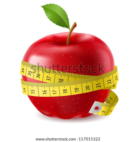 Raster version. Red apple and measure tape. Illustration on white background - stock photo