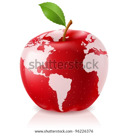Raster version.  Red Apple World Map on White Background - stock photo