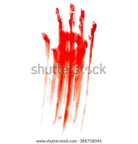 Raster version. Red bloody hand print on a white background