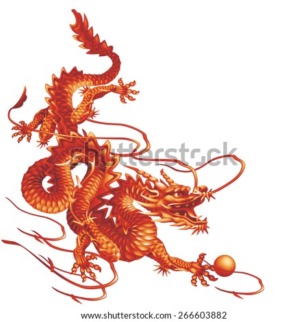 Raster version / Red dragon running down diagonally on a white background - stock photo