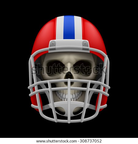 Raster version. Red football helmet with skull on a black background - stock photo