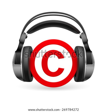 Raster version. Red icon of copyright in black headphones