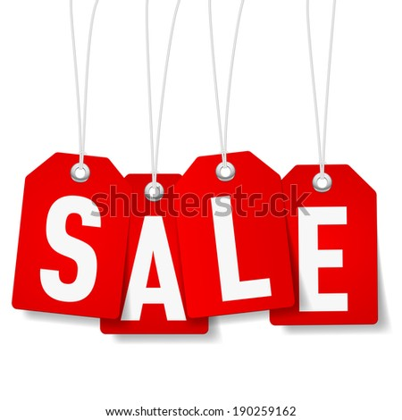 Raster version. Red price tags with Sale word on white background