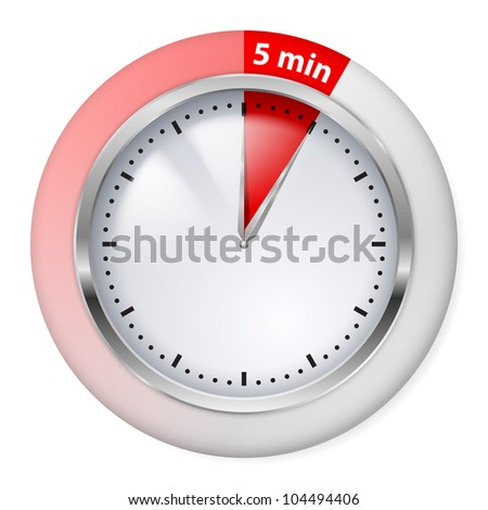 Raster version. Red Timer Icon. Five Minutes. Illustration on white.