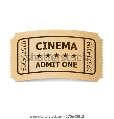 Raster version. Retro style cinema ticket isolated on white. Vintage symbol of film industry. Entertainment and leisure.