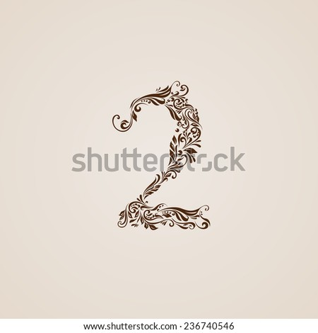 Raster version. Richly decorated two digit on beige background.