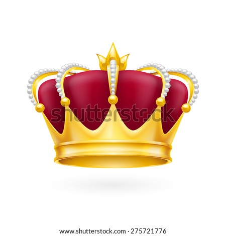 Raster version. Royal attribute golden crown isolated on the white background for design