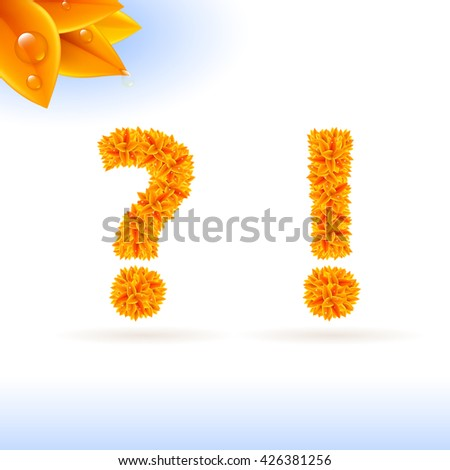 Raster version. Sans serif font with autumn leaf decoration on white background. Question and exclamation marks