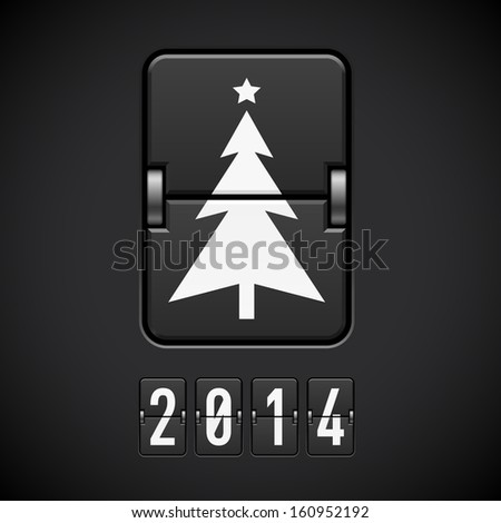 Raster version. Scoreboard New Year tree and 2014 number. - stock photo