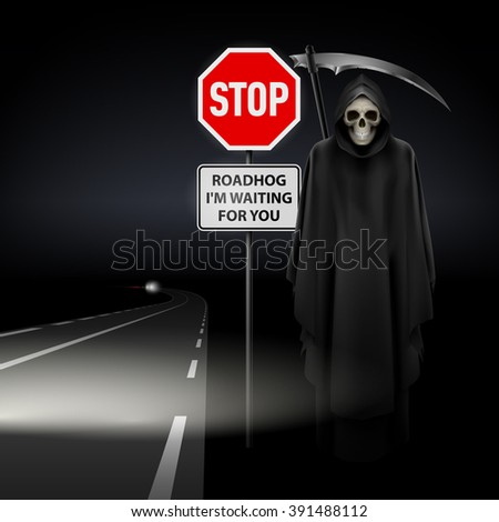 Raster version. Scytheman beside the road with a traffic sign Stop - stock photo