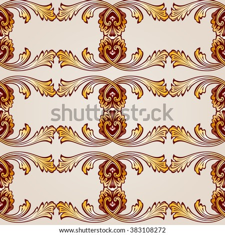 Raster version. Seamless abstract floral pattern in the form of frameworks from vines - stock photo