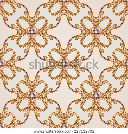 Raster version. Seamless abstract floral pattern in the form of golden lines  - stock photo