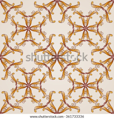 Raster version. Seamless abstract floral pattern in the form of golden vines - stock photo
