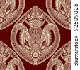 raster version,  seamless eastern style paisley background - stock photo