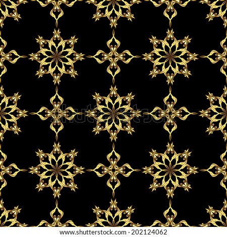 Raster version. Seamless gold flower pattern on black background - stock photo