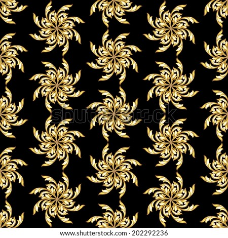 Raster version. Seamless gold flower patterns on black background - stock photo