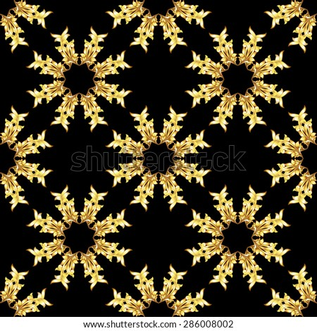 Raster version. Seamless golden floral elements on black background  - stock photo