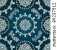 raster version  seamless paisley pattern in blue - stock photo