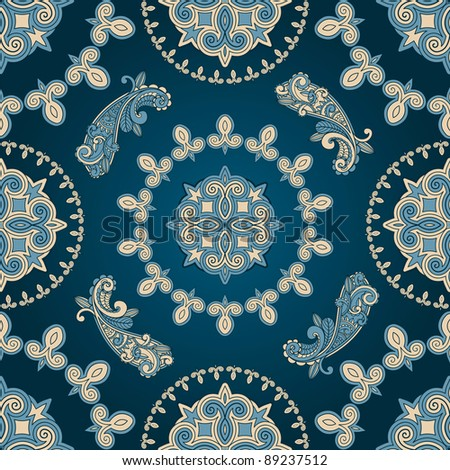 raster version  seamless paisley pattern in blue