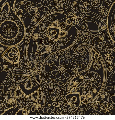 Raster version. Seamless pattern based on traditional Asian elements Paisley - stock photo