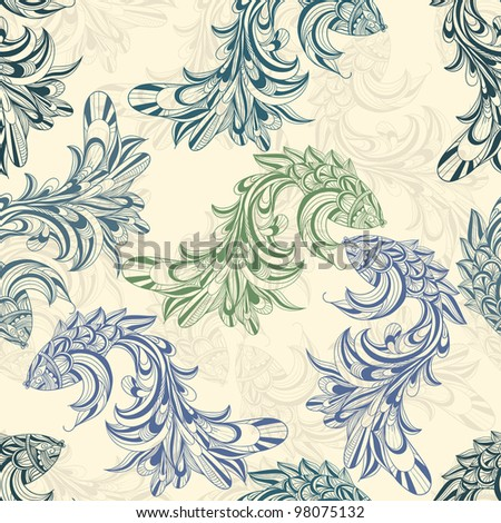 raster version, seamless pattern with concept  fishes - stock photo