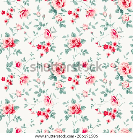 Raster version. Seamless pattern with pink roses.  - stock photo