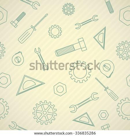 Raster version. Seamless pattern with thin icons on mechanics theme - stock photo