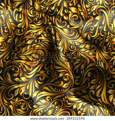 Raster version. Seamless patterned golden fabric with a floral pattern in the form of vines  - stock photo